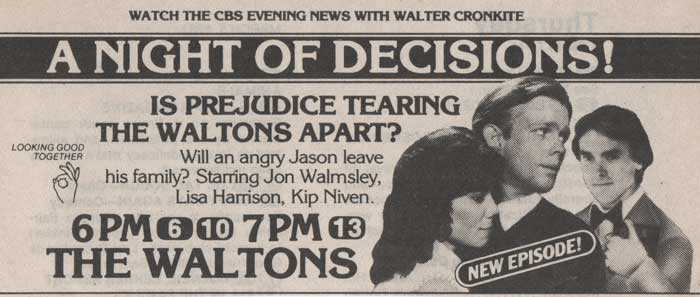The Waltons TV Guide Ad The Beginning